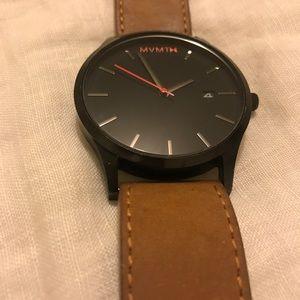 MVMT men's watch with genuine leather strap